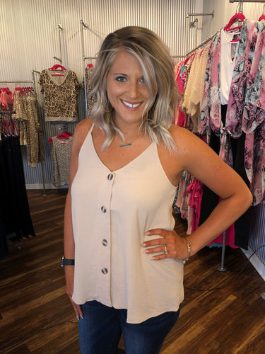 Sand Tortoise Button Down Sleeveless Top with Adjustable Straps
