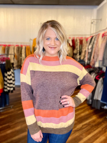 Multi Color Stripe Sweater - Size M/L