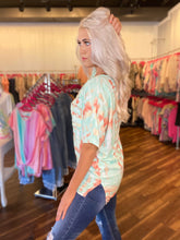 Load image into Gallery viewer, Mint & Orange Tie Dye Top