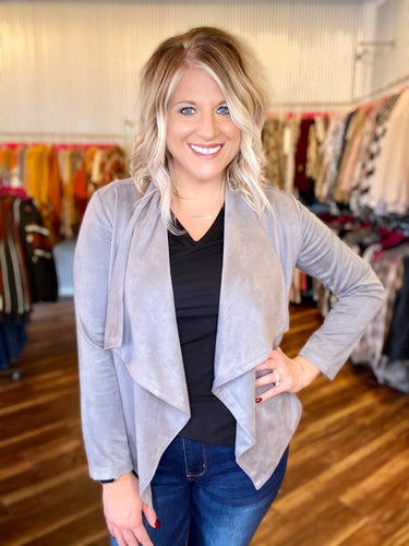 Gray Faux Suede Jacket