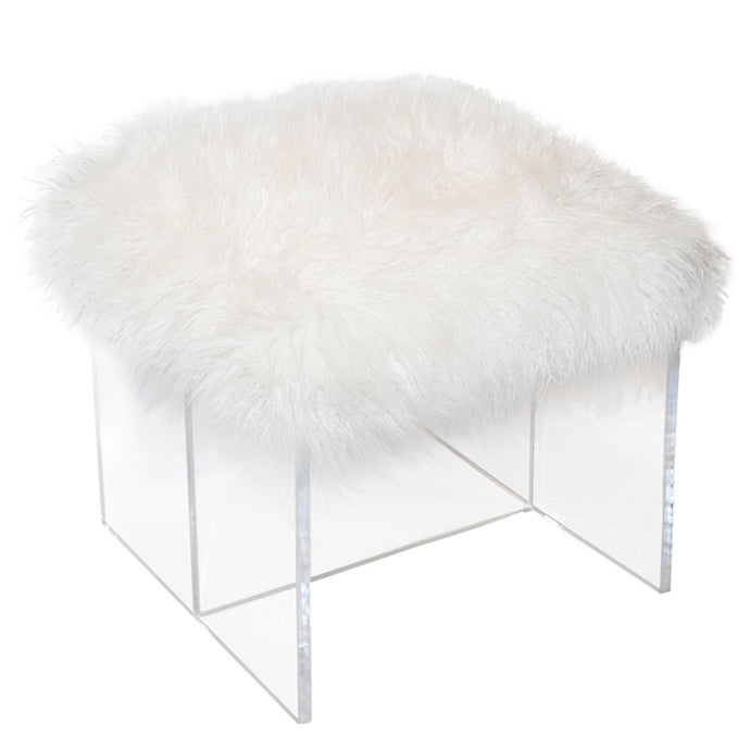 Dillon Stool Llama Snow White Fur