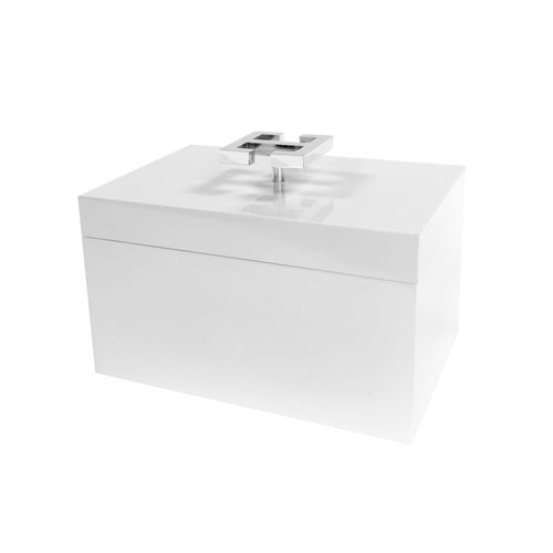 White Lacquered Box with Chrome Greek Key Handle