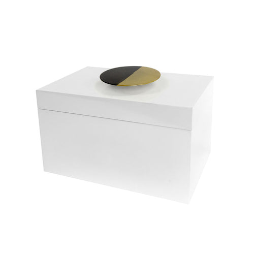 White Lacquered Box with Dipped Metal Handle