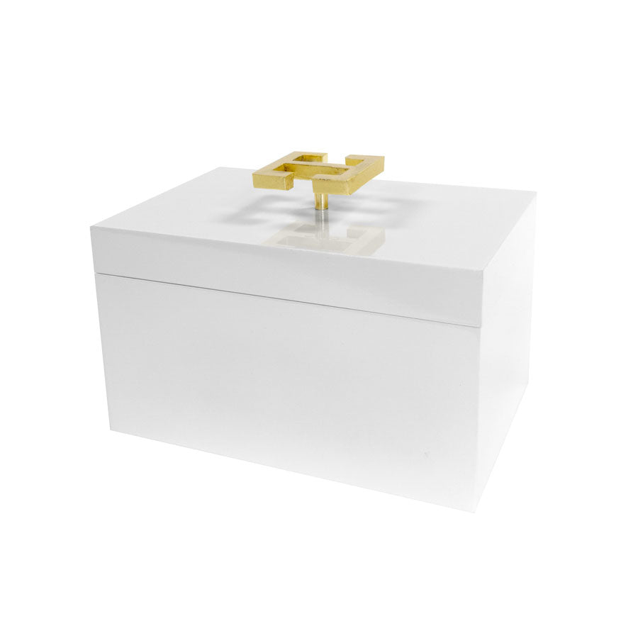 White Lacquered Box with Gold Greek Key Handle