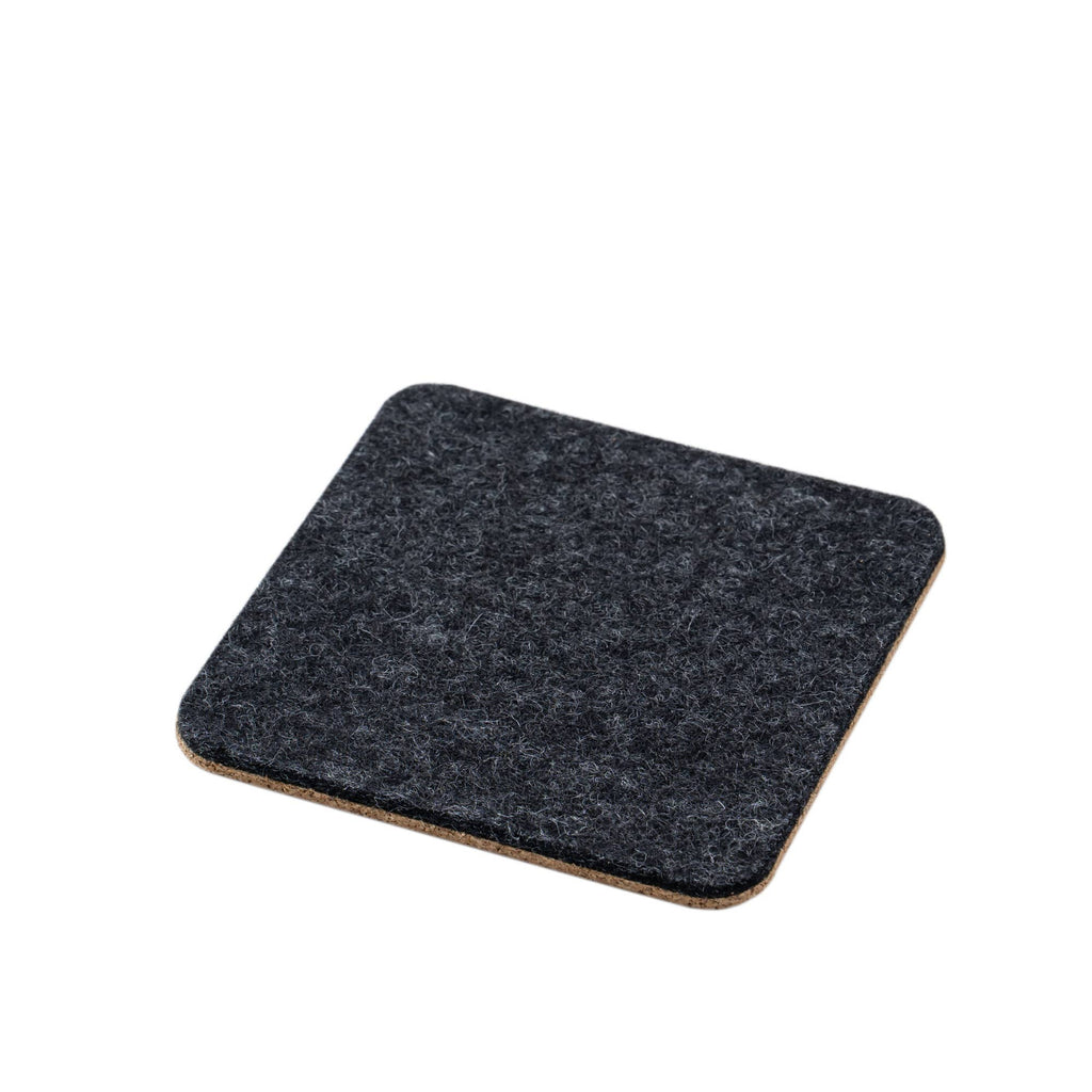 Anthracite Felt & Cork Coasters (Set of 4)