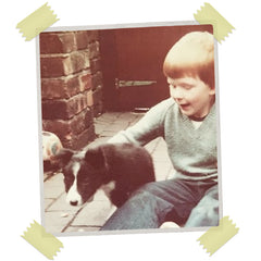 Me as a boy with Bonnie, my Border Collie pup