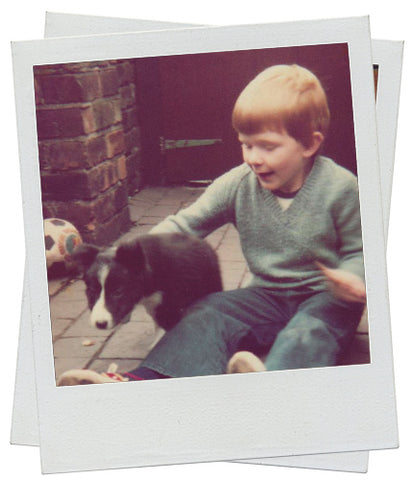 Boy and Border Collie Puppy