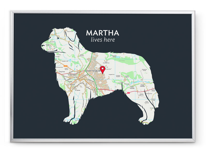 Personalised Australian Shepherd Map Print