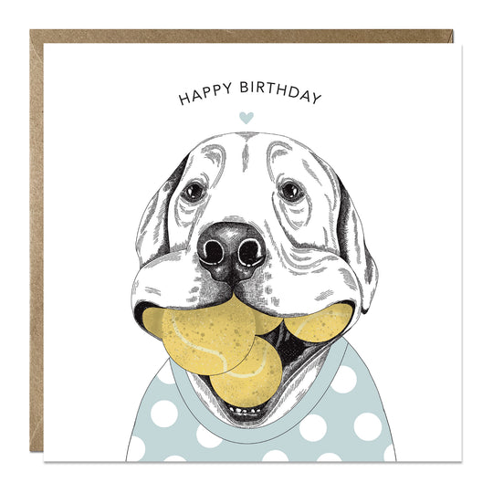 'Ball Obsessed' birthday card with Labrador