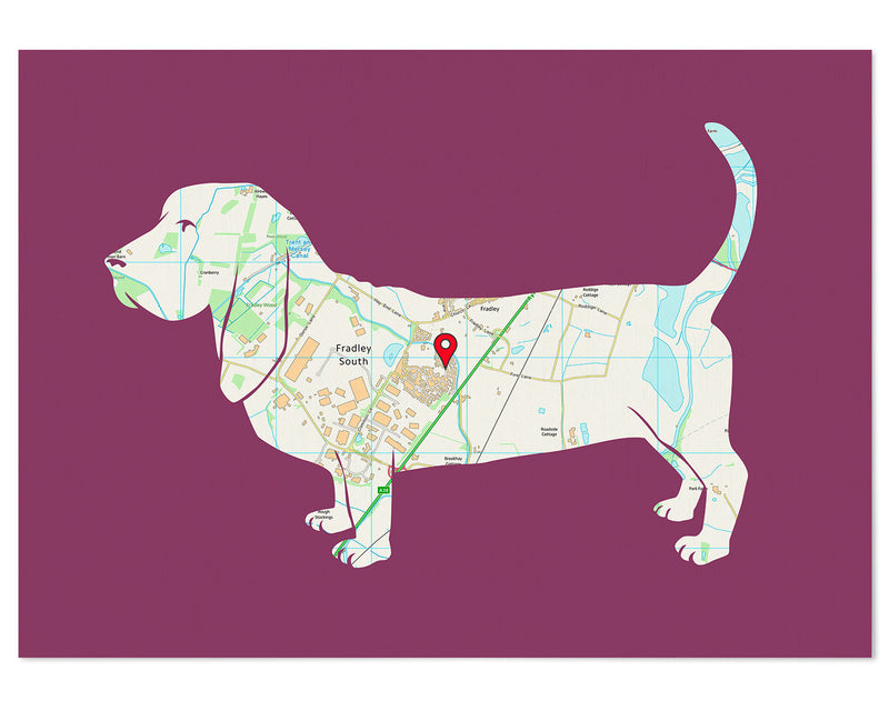 Personalised Basset Hound Map Print