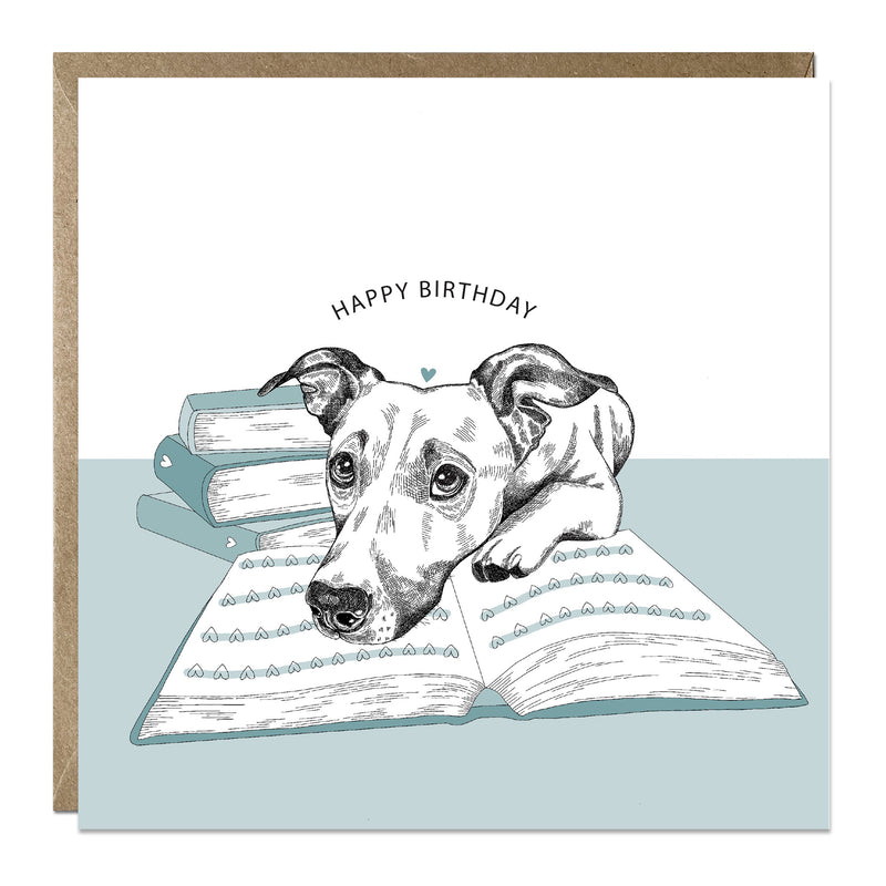 'Book Lovers' birthday card with Jack Russell