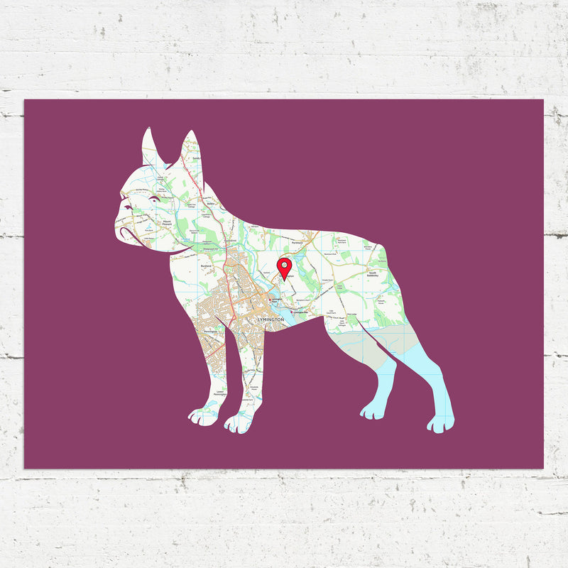 Personalised Boston Terrier Map Print