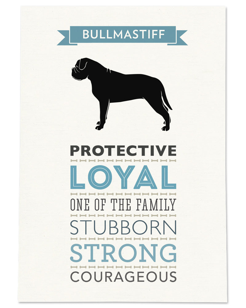 Bullmastiff Dog Breed Traits Print