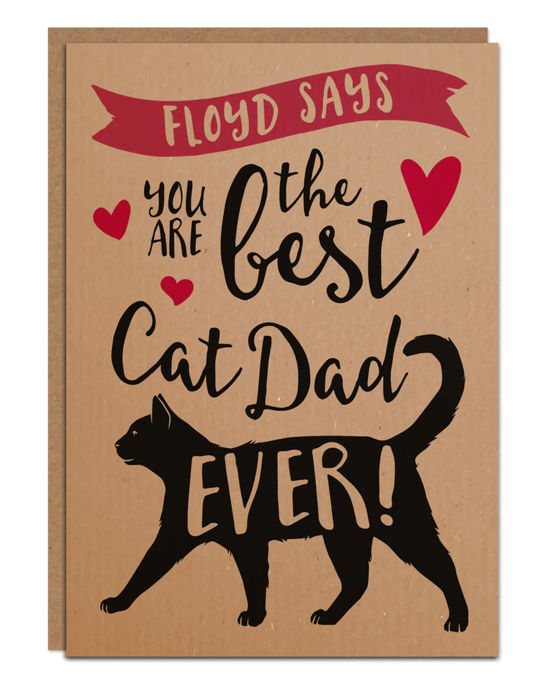 Personalised 'Best Cat Dad Ever' Father's Day Card From The Cat