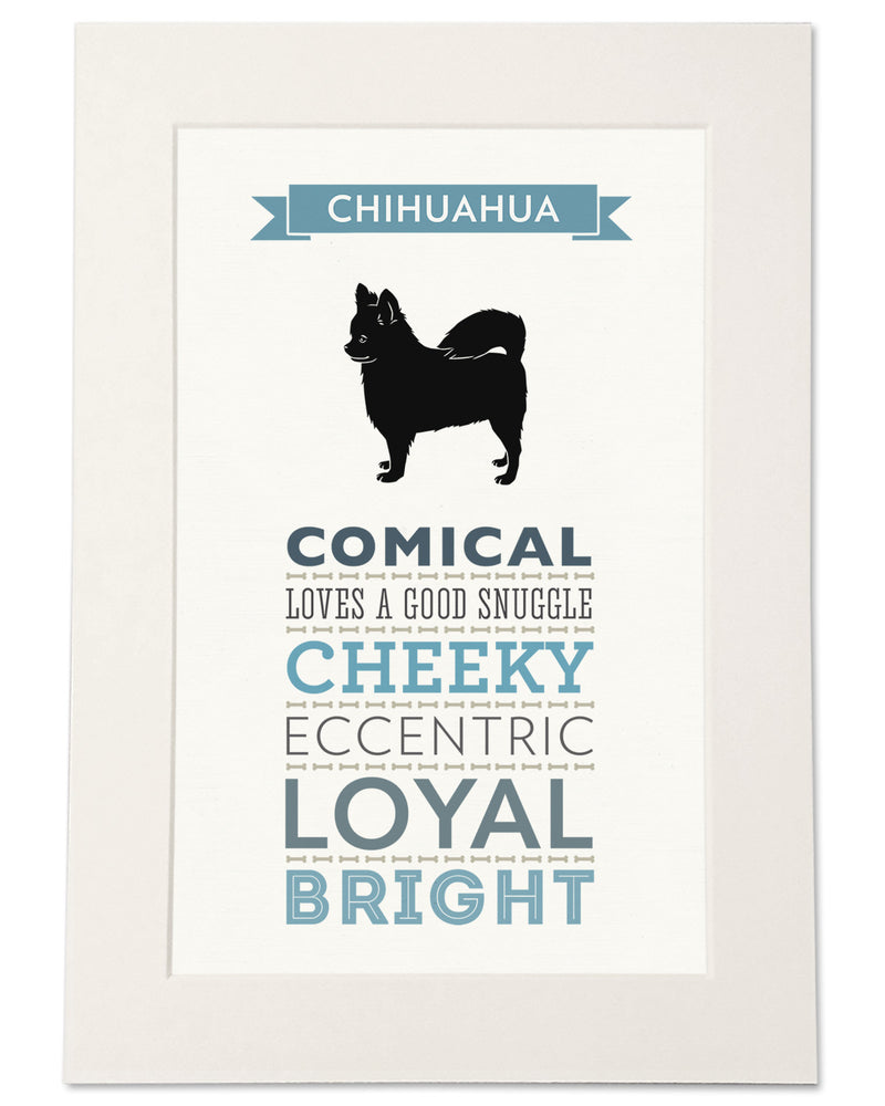 Chihuahua (Long Haired) Dog Breed Traits Print