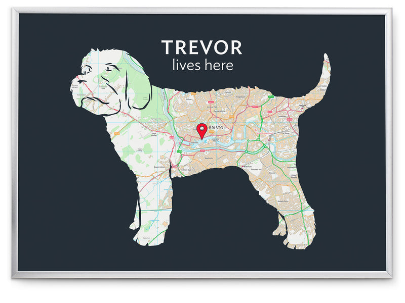 Personalised Cockapoo Map Print