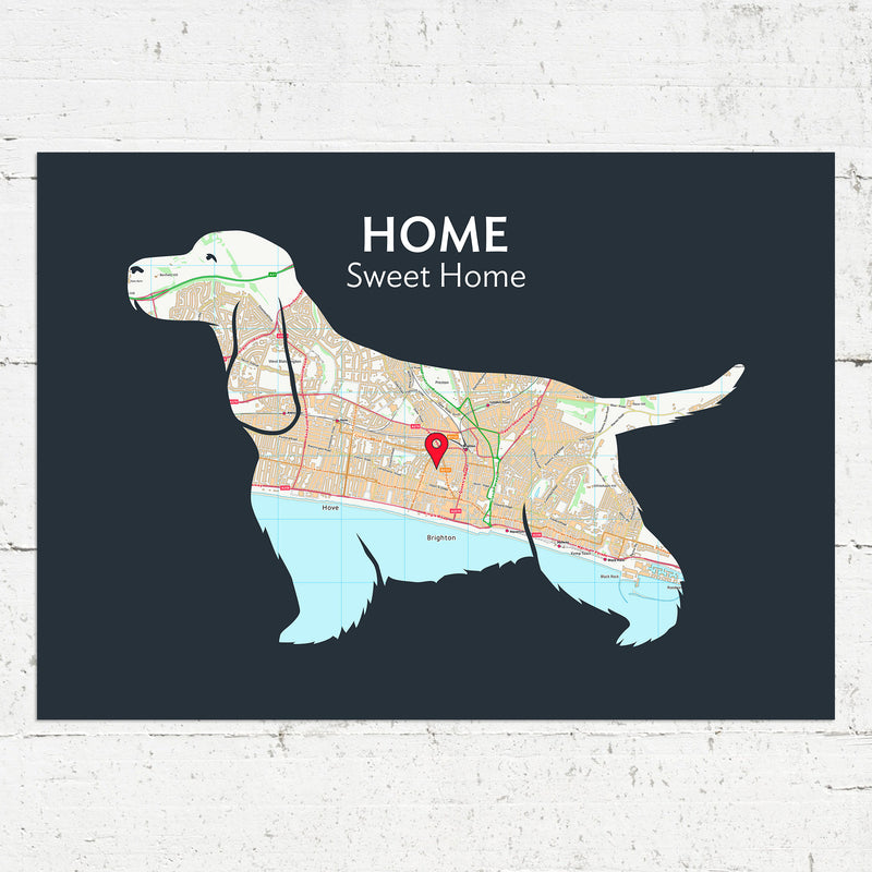 Personalised Cocker Spaniel Map Print