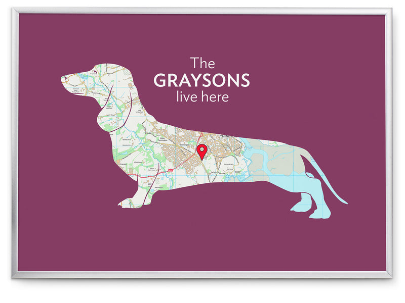 Personalised Dachshund Map Print
