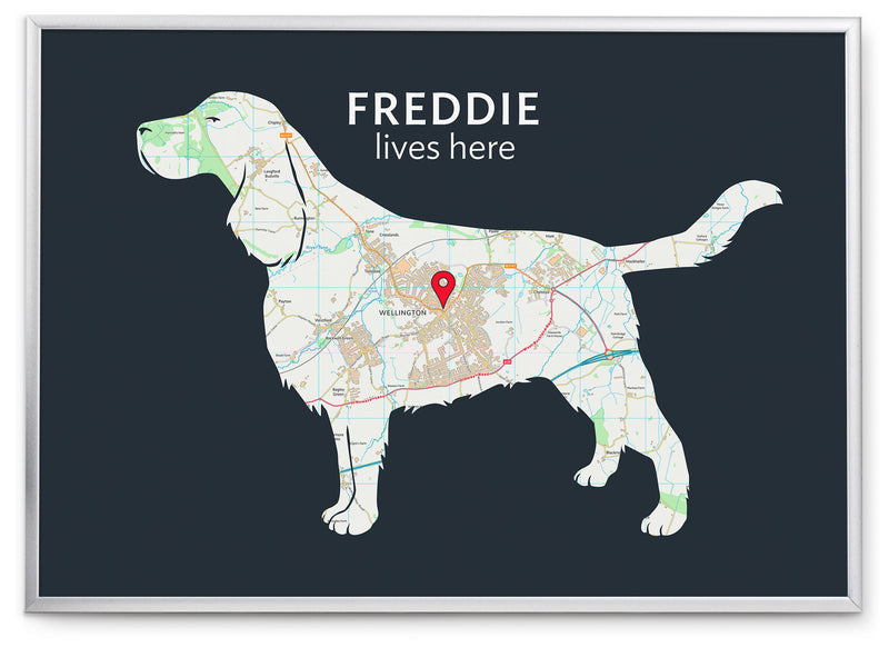 Personalised English Springer Spaniel Map Print