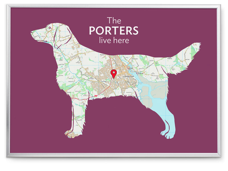 Personalised Flat Coated Retriever Map Print