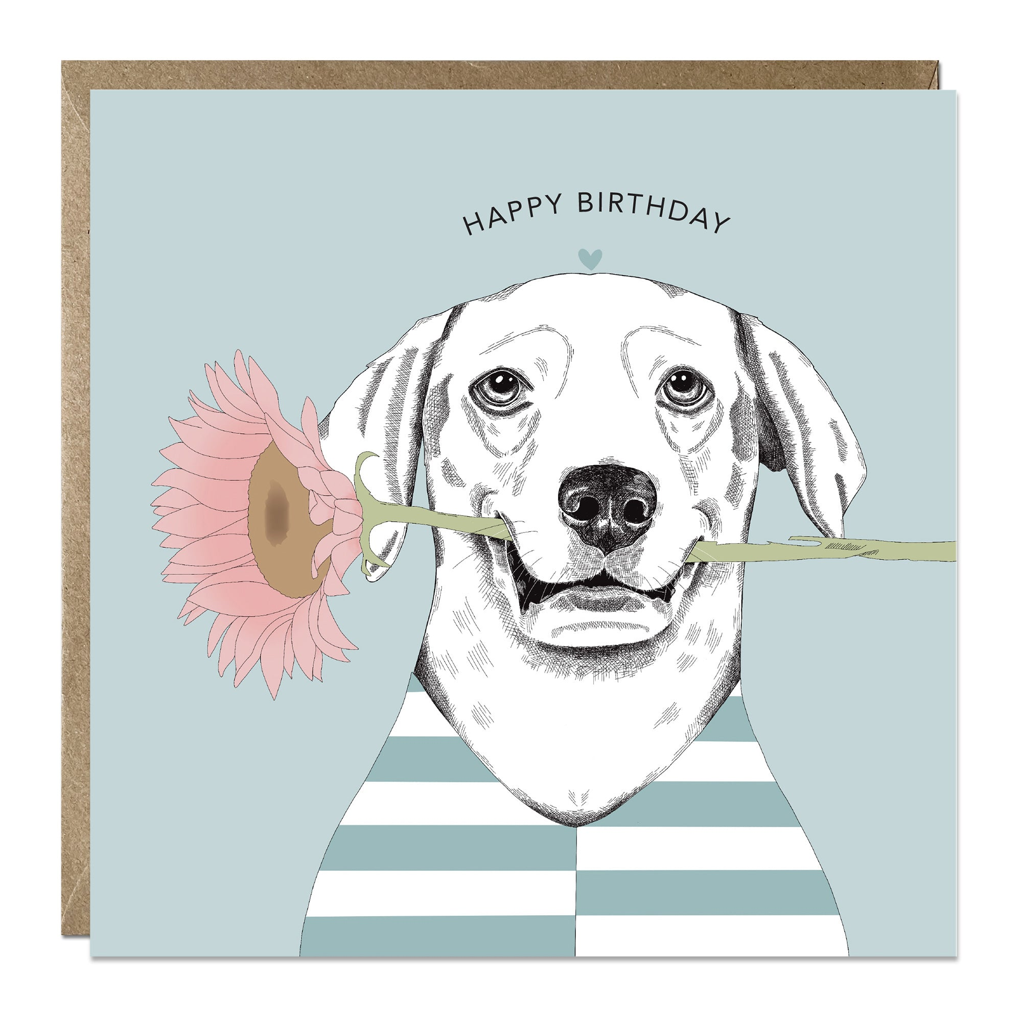 'Flower Dog' birthday card with Labrador
