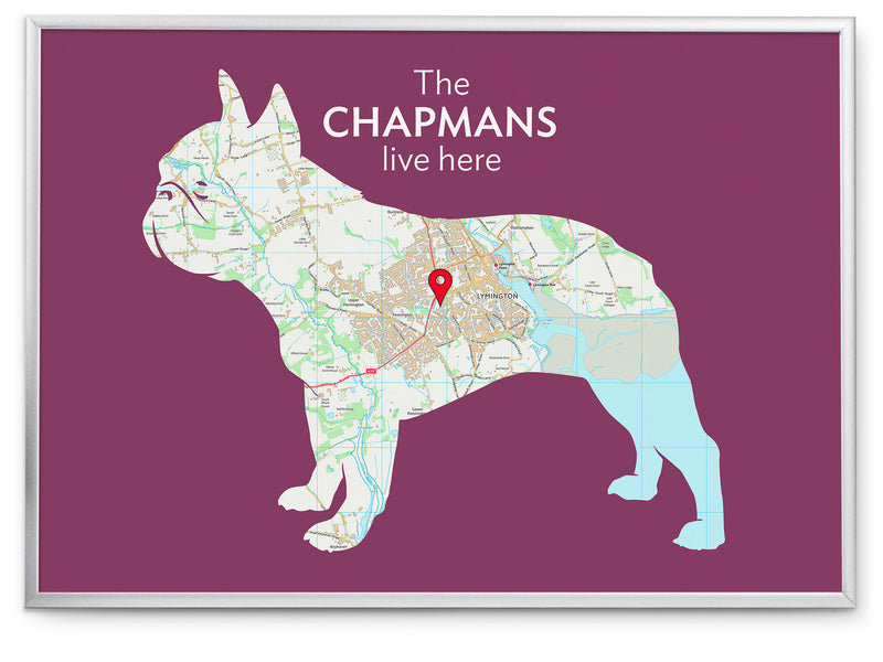 Personalised French Bulldog Map Print