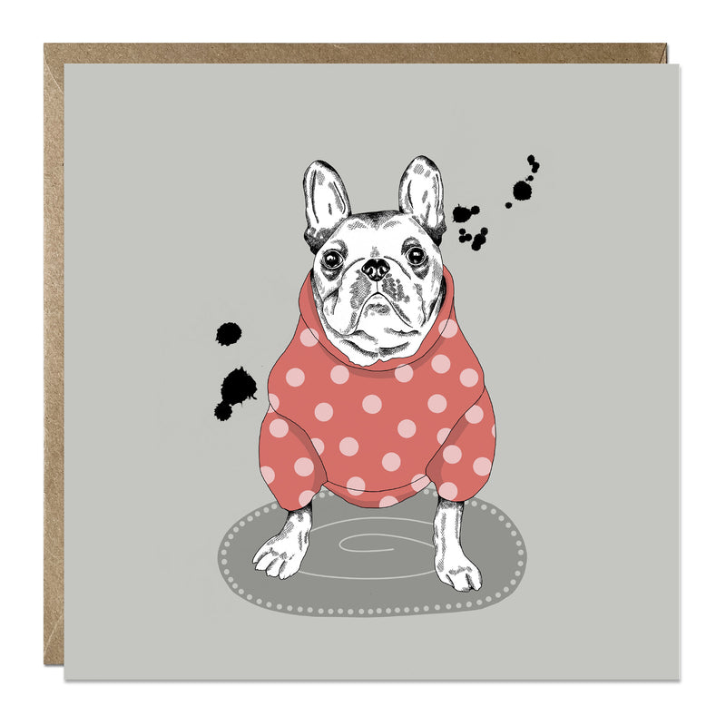 'Frenchie in Spotty Jumper' card with French Bulldog