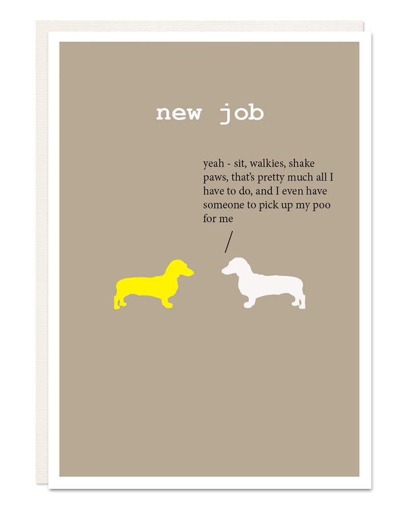'new job' card with Dachshund