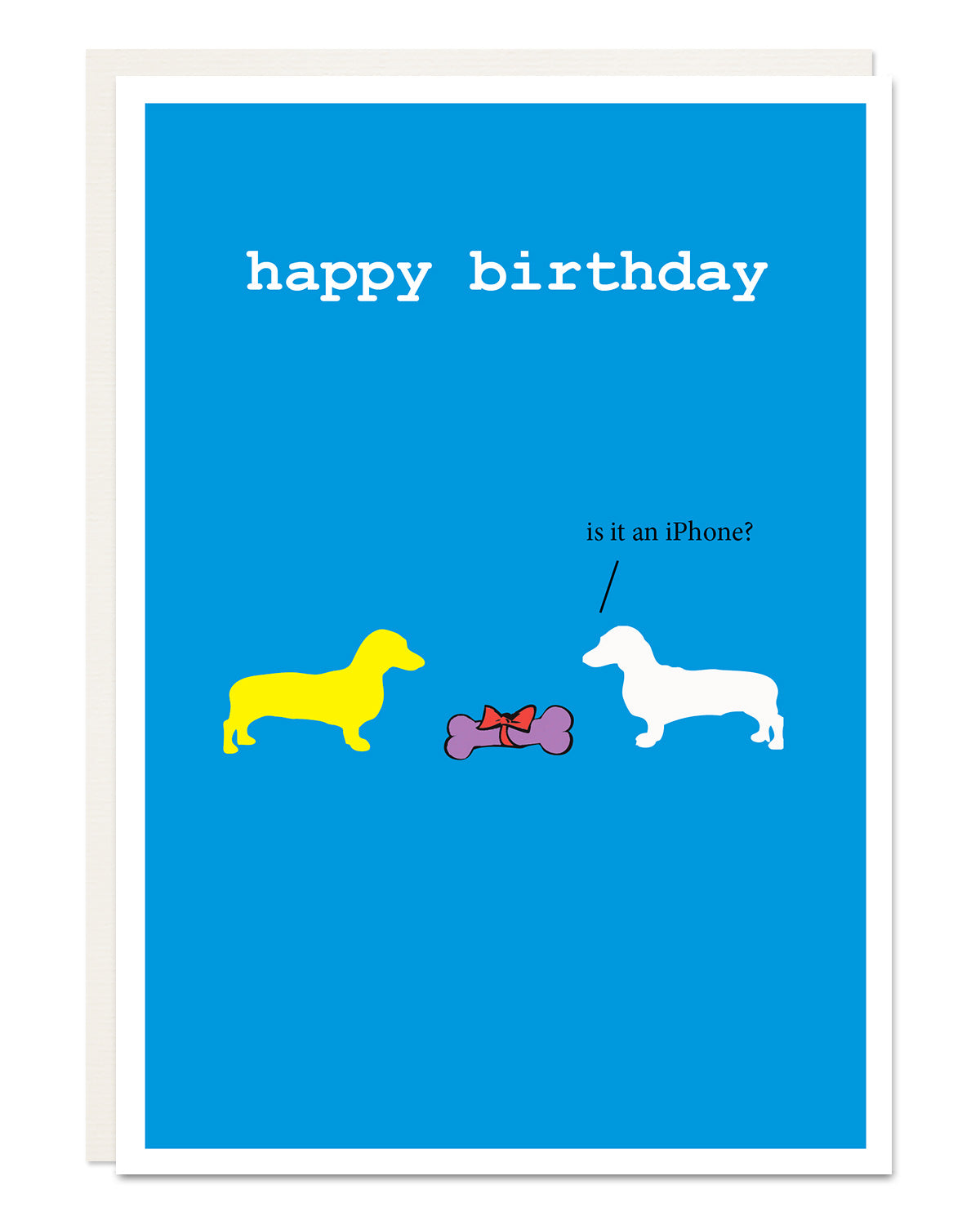 'iPhone' funny Dachshund birthday card