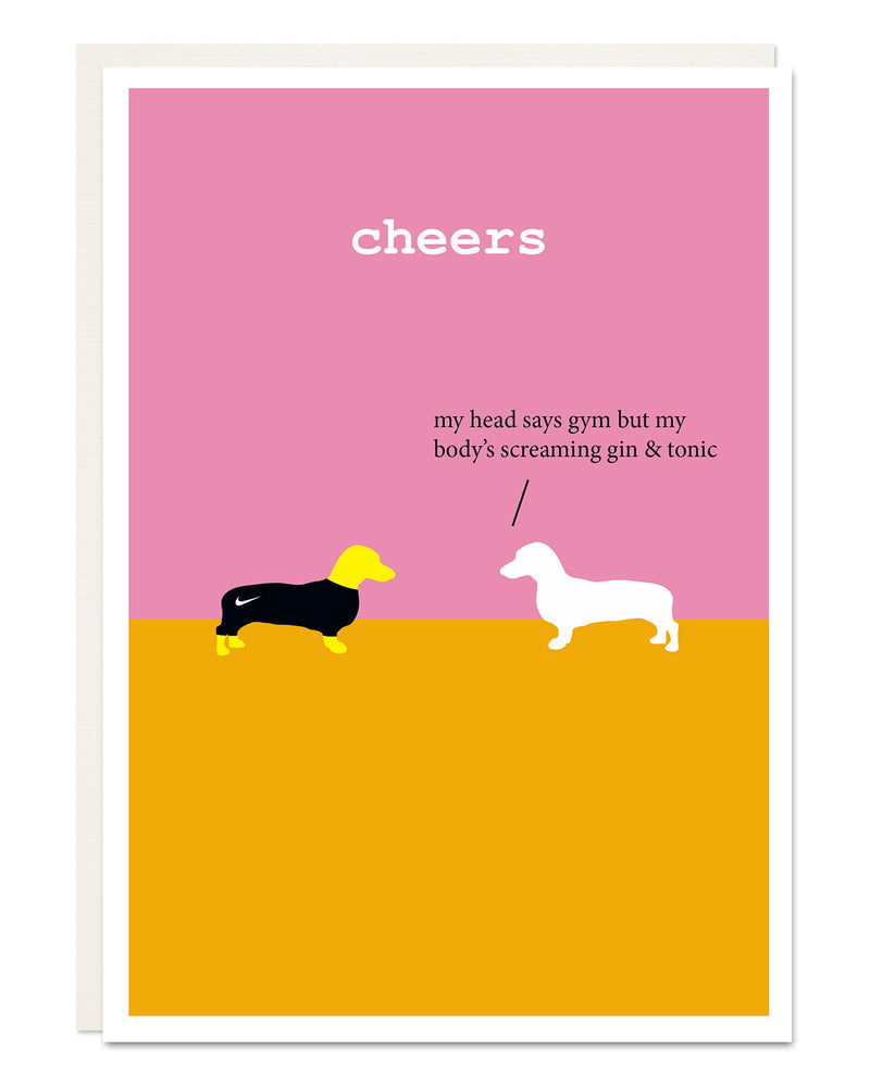 'cheers' funny Dachshund card