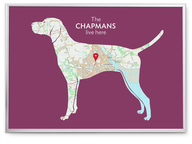 Personalised German Shorthaired Pointer Map Print
