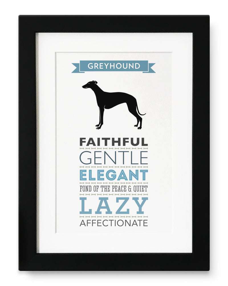 Greyhound Dog Breed Traits Print