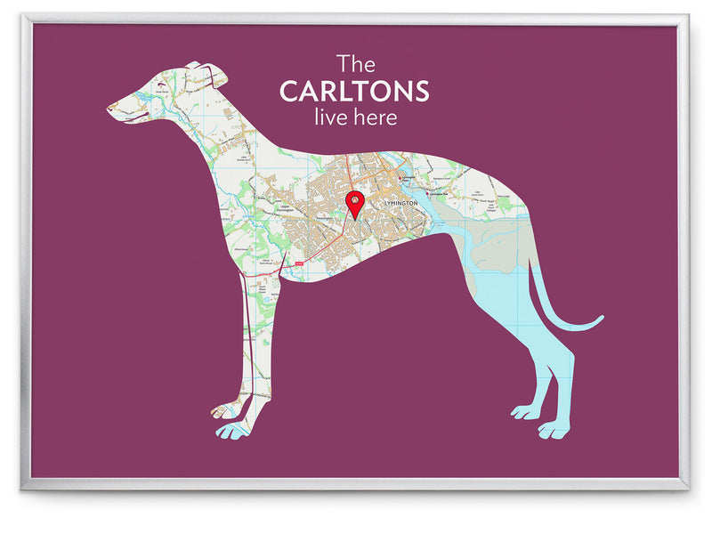 Personalised Greyhound Map Print