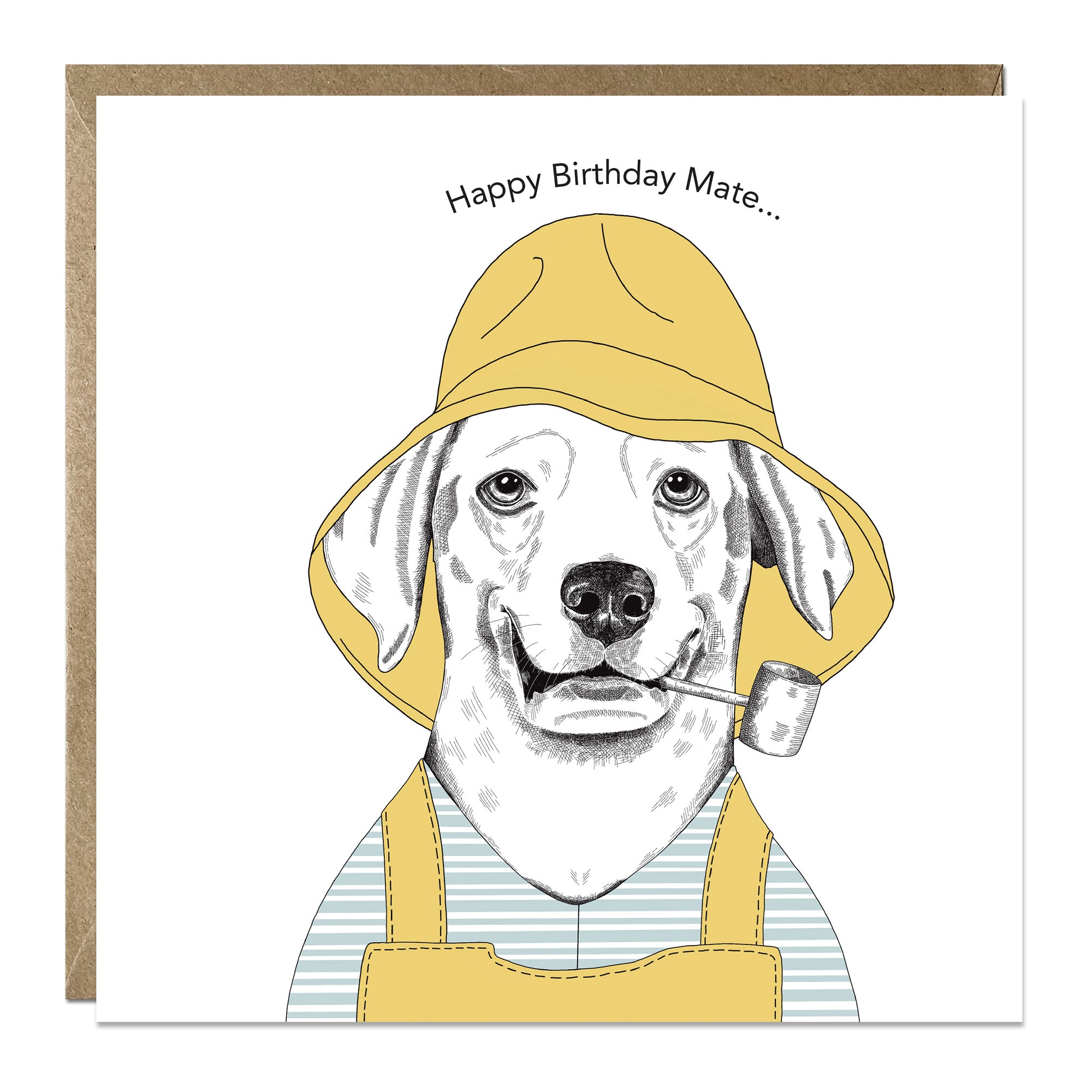 'Happy Birthday Mate' birthday card with Labrador