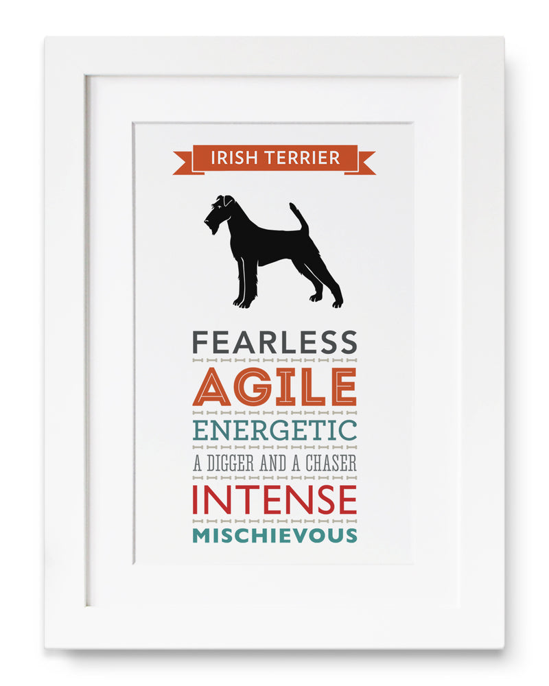 Irish Terrier Dog Breed Traits Print