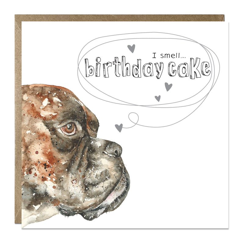 'I smell cake' birthday card with Boxer