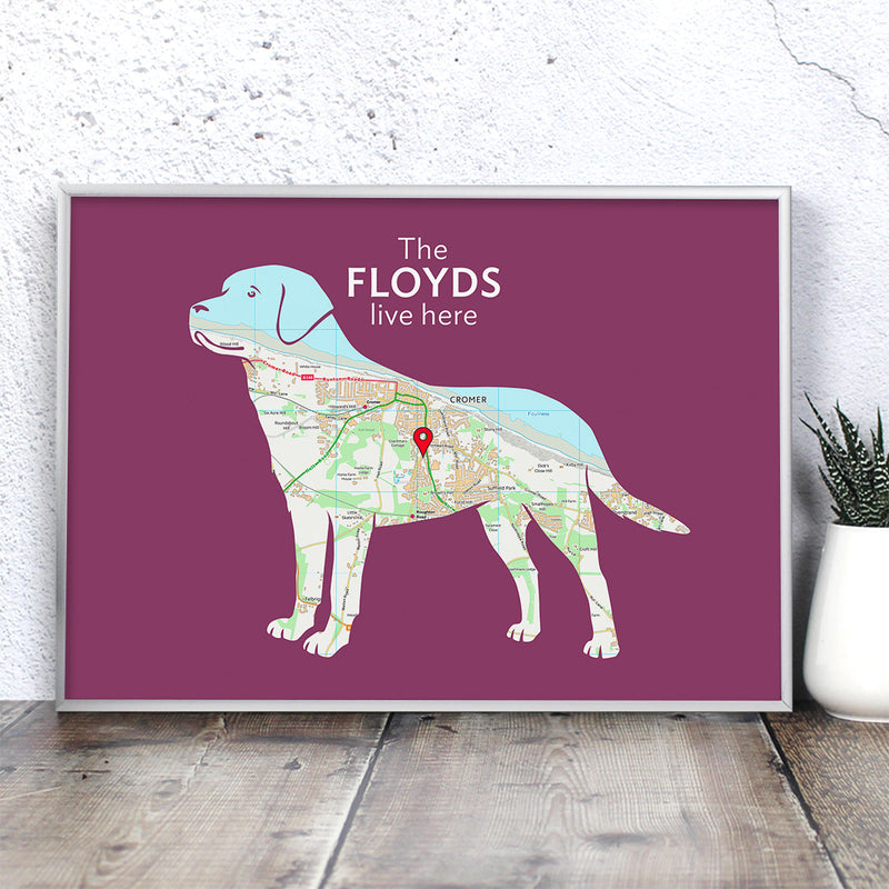 Personalised Labrador Map Print