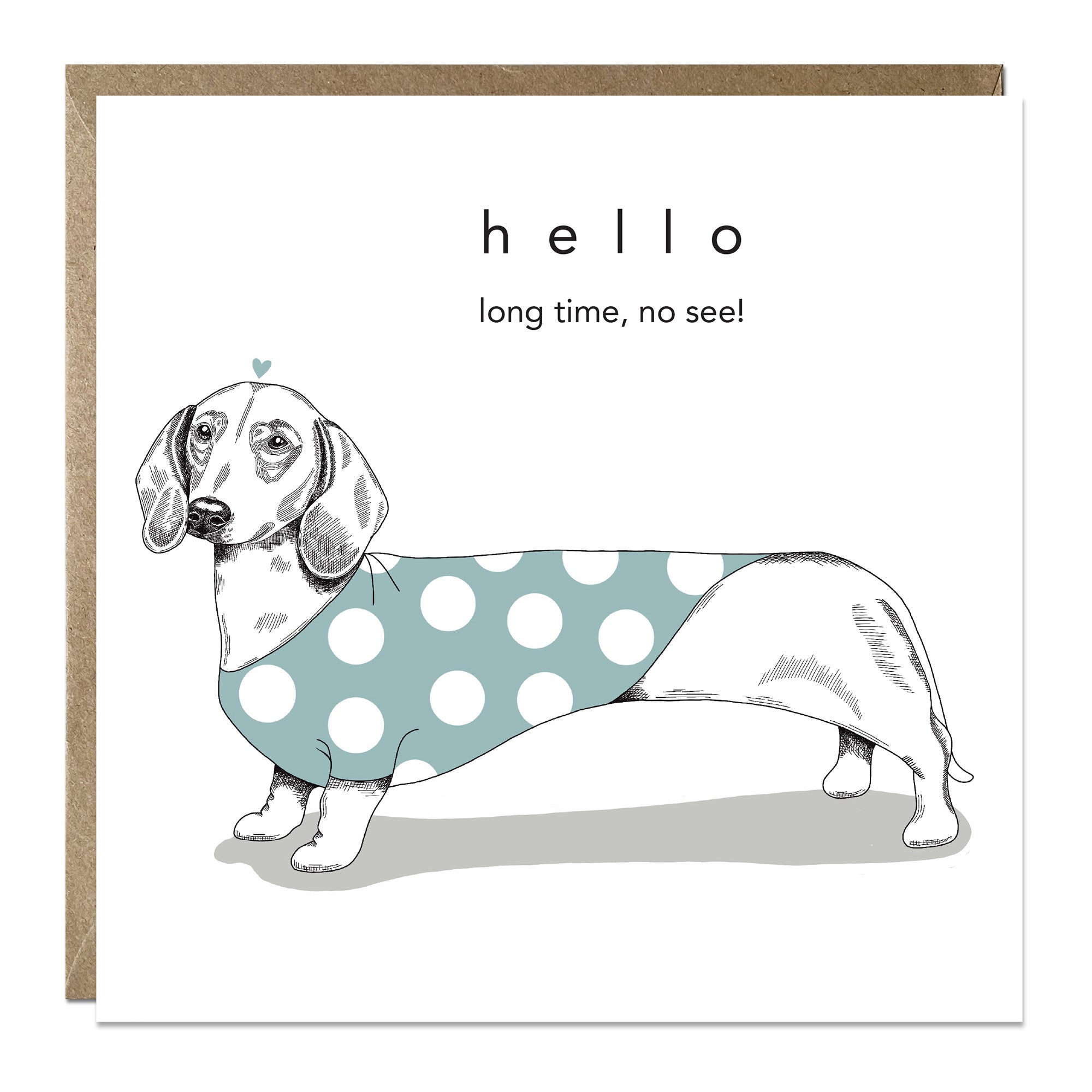 'Long Time No See' Miss You card with Dachshund
