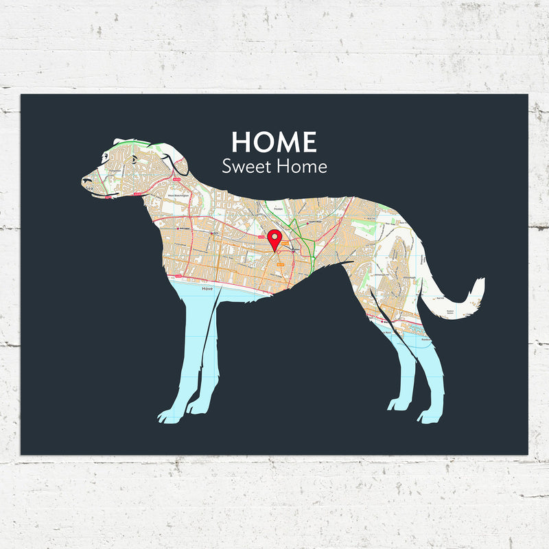 Personalised Lurcher Map Print