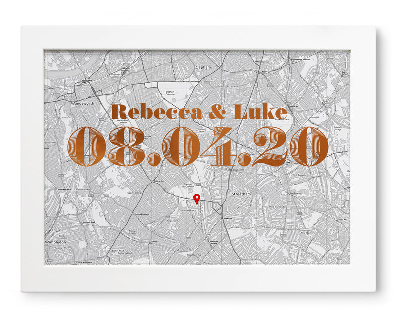 Personalised Map Print With Foil Date