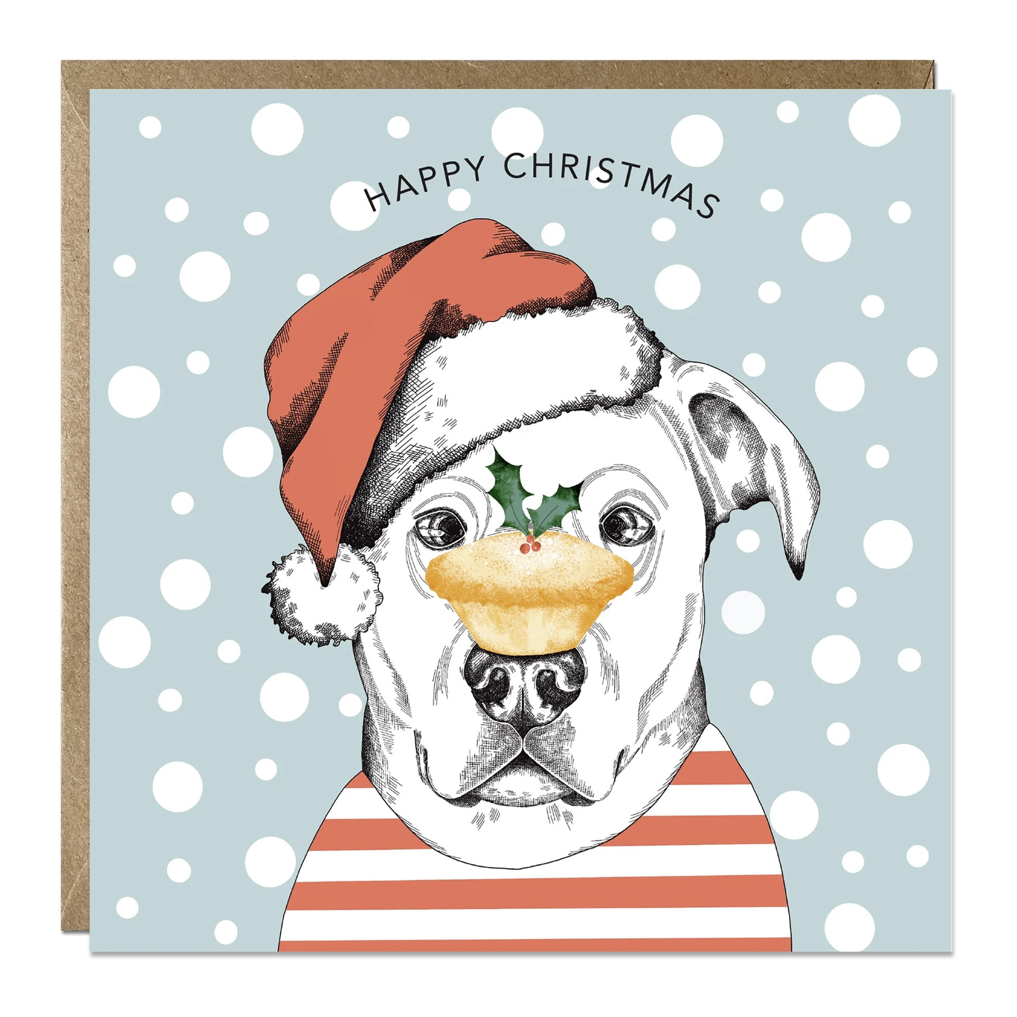 'Mince Pie Dog' Christmas card with Labrador
