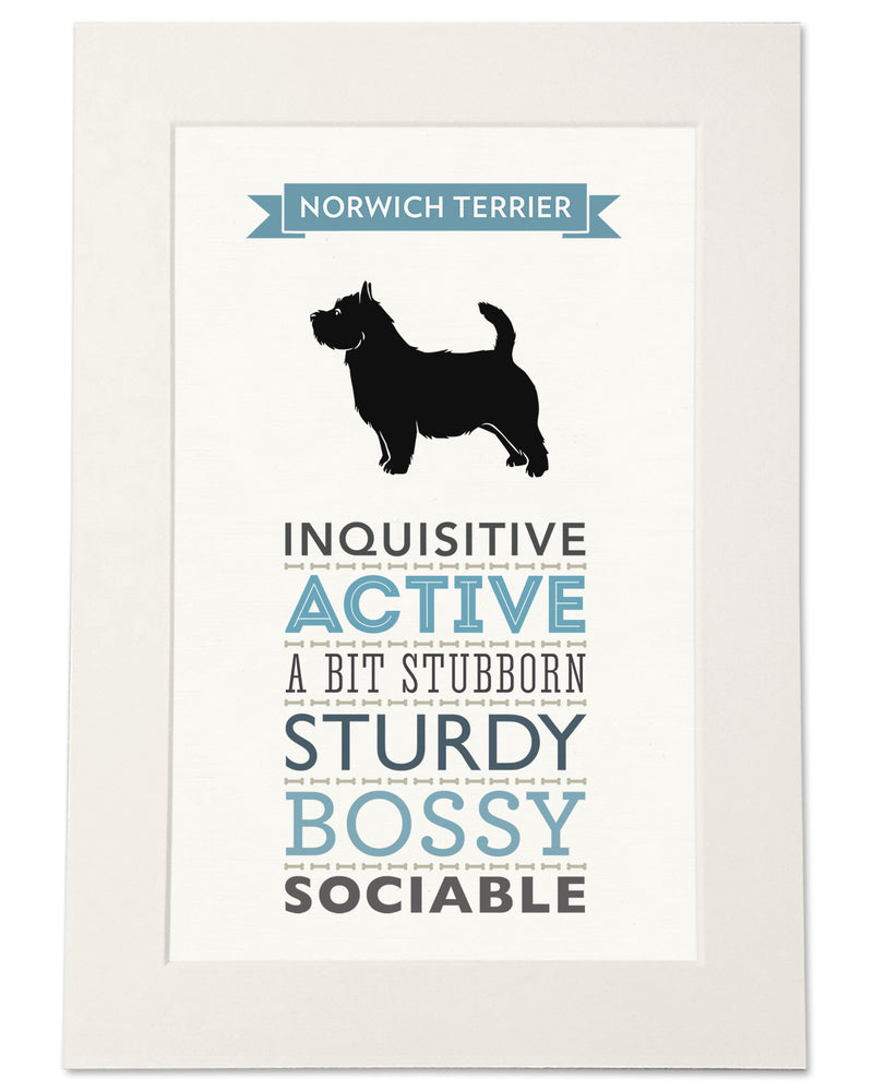 Norwich Terrier Dog Breed Traits Print