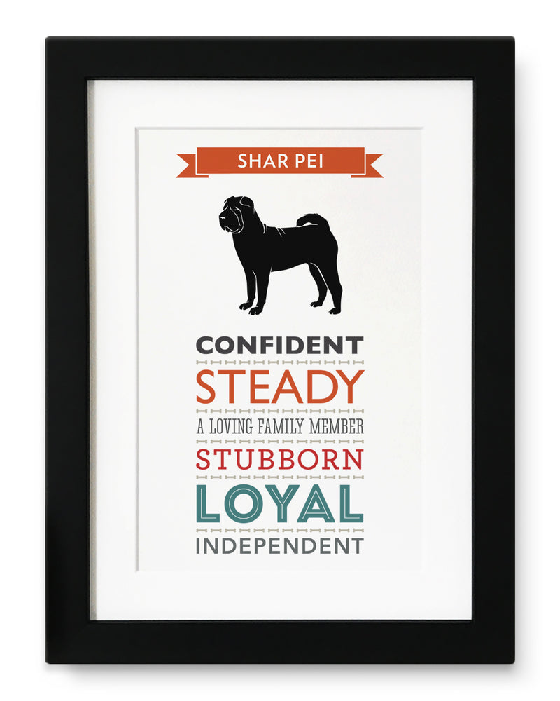 Shar Pei Dog Breed Traits Print