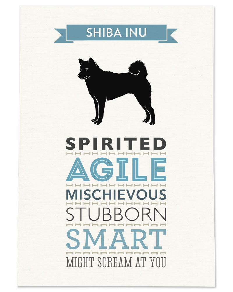 Shiba Inu Dog Breed Traits Print