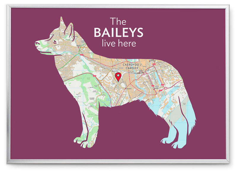 Personalised Siberian Husky Map Print