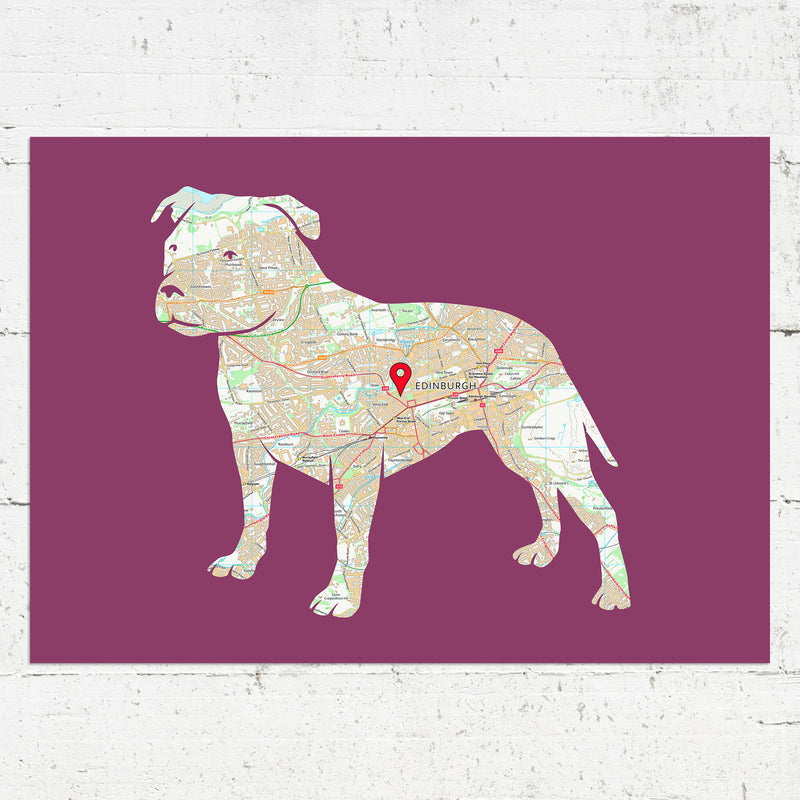 Personalised Staffordshire Bull Terrier Map Print