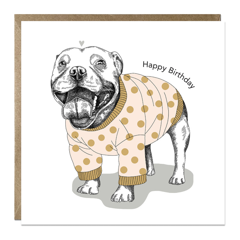 'Smiley Staffy' birthday card with Staffordshire Bull Terrier