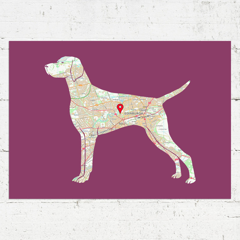 Personalised Weimaraner Map Print