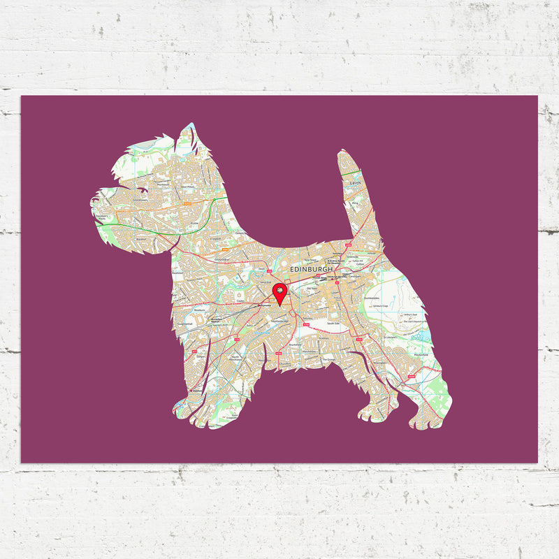 Personalised West Highland White Terrier Map Print