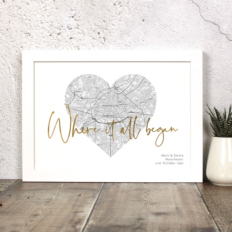 Where It All Began Map Print With Foil Wording